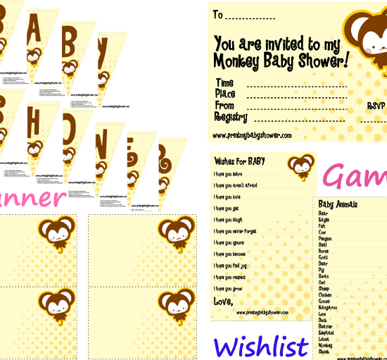 monkey printable set